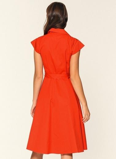 Loves You Düğmeli Ceket Yaka Elbise Kırmızı